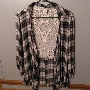 American Rag flannel cardigan crocheted back M